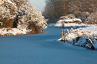 Frozen Kennet and Avon Canal at Ufton, Berkshire, Uk