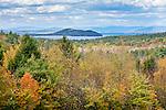 Fall foliage on Lake Winnipesaukee seen from Alton, NH, USA