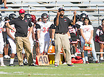 Palos Verdes, CA 09/25/15 - Lawndale coaches in action during the Lawndale - Palos Verdes Peninsula Varsity football game at Peninsula High School.