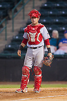 Hagerstown Suns catcher Spencer Kieboom (20) on defense against the Hickory Crawdads at L.P. Frans Stadium on May 7, 2014 in Hickory, North Carolina.  The Suns defeated the Crawdads 4-2.  (Brian Westerholt/Four Seam Images)