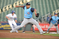 Colorado Springs Sky Sox starting pitcher Junior Guerra (41) throws a pitch against the Omaha Storm Chasers at Werner Park on April 5, 2018 in Omaha, Nebraska. The Sky Sox won 3-1.  (Dennis Hubbard/Four Seam Images)