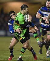 Stephen Myler of Northampton Saints is tackled by Darren Atkins of Bath Rugby. Anglo-Welsh Cup Semi Final, between Bath Rugby and Northampton Saints on March 9, 2018 at the Recreation Ground in Bath, England. Photo by: Patrick Khachfe / Onside Images