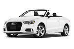 Stock pictures of low aggressive front three quarter view of a 2018 Audi A3 Premium 2 Door Convertible