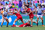 Nathan Hirayama of Canada (R) passes the ball during the HSBC Hong Kong Sevens 2018 Bowl Final match between Canada and France on 08 April 2018, in Hong Kong, Hong Kong. Photo by Marcio Rodrigo Machado / Power Sport Images