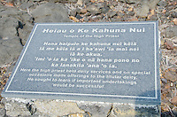 Signage for Heiau o Ke Kahuna Nui (Temple of the High Priest) at Kealakowa'a Heiau, Kailua-Kona, Big Island.