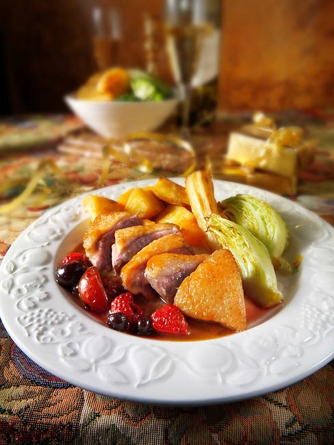 Traditional roast Gresham duck dinner stock photos