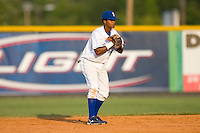 Shortstop Yowill Espinal #7 of the Burlington Royals on defense versus the Elizabethton Twins at Burlington Athletic Park July 19, 2009 in Burlington, North Carolina. (Photo by Brian Westerholt / Four Seam Images)