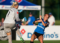 Kansas City, MO - Sunday July 02, 2017:  Shea Groom has her shot on goal blocked by Jane Campbell during a regular season National Women's Soccer League (NWSL) match between FC Kansas City and the Houston Dash at Children's Mercy Victory Field.