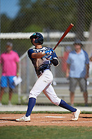 Glenn Santiago during the WWBA World Championship at the Roger Dean Complex on October 20, 2018 in Jupiter, Florida.  Glenn Santiago is a shortstop from Guanica, Puerto Rico who attends International Baseball Academy and is committed to Florida International.  (Mike Janes/Four Seam Images)