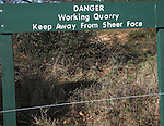 Danger Working Quarry sign