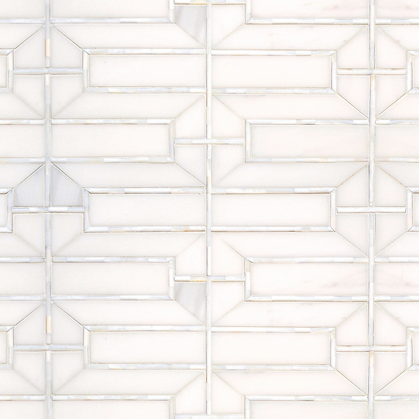 Mandarin Lattice, a stone hand-cut mosaic, shown in polished Dolomite and Shell, is part of the Altimetry® Collection for New Ravenna.