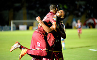 IBAGUE - COLOMBIA, 27-08-2018: Luis Payares (Der.), jugador de Deportes Tolima celebra el gol anotado a Deportivo Pasto, durante partido de la fecha 6 por la Liga Aguila II 2018 entre Deportes Tolima y Deportivo Pasto, jugado en el estadio Manuel Murillo Toro de la ciudad de Ibague. / Luis Payares (R), player of Deportes Tolima celebrates a scored goal to Deportivo Pasto during a match of the 6th date for the Aguila League II 2018, between Deportes Tolima and Deportivo Pasto,  played at Manuel Murillo Toro stadium in Ibague city. Photo: VizzorImage / Juan Carlos Escobar / Cont.