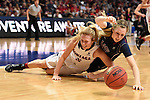 March 6, 2015; Las Vegas, NV, USA; Gonzaga Bulldogs guard Georgia Stirton (5, left) and Loyola Marymount Lions guard Makenzie Cast (32, right) fight for the loose ball during the second half of the WCC Basketball Championships at Orleans Arena.
