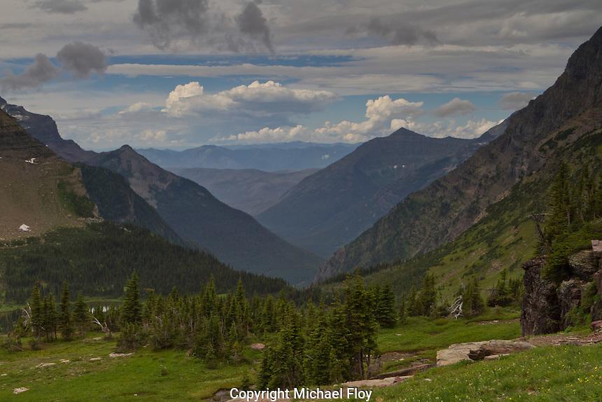 View Mountains near Logan Pass visitor center near Hidden Lake.