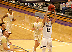SIOUX FALLS, SD - NOVEMBER 25: Drew Maschoff #15 from the University of Sioux Falls lays the ball up against Southwest Minnesota State University during their game Saturday night at the Stewart Center in Sioux Falls. (Photo by Dave Eggen/Inertia)