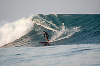 Nemberala Beach Resort, Rote, Indonesia. (Monday, September 25 2017) The surf had jumped overnight and was a solid 6'-8' with larger sets this morning. Guests surfed early before the tide filled in. The winds  stayed light early before turning Southerly and getting stronger during the day.. Photo: joliphotos