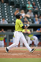 Catcher Hayden Senger (15) of the Columbia Fireflies bats in a game against the Augusta GreenJackets on Thursday, July 11, 2019 at Segra Park in Columbia, South Carolina. Columbia won, 5-2. (Tom Priddy/Four Seam Images)