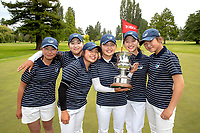 Auckland teammates celebrate with the National Interprovincial Trophy. Toro New Zealand Womens Interprovincial Tournament, Waitikiri Golf Club, Christchurch, New Zealand, Saturday 8th December 2018. Photo:Martin Hunter /www.bwmedia.co.nz
