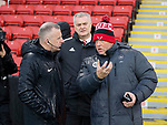 Referee Jonathan Moss seeks advice from Head Groundsman Glen Nortcliffe during the Premier League match at Bramall Lane, Sheffield. Picture date: 9th February 2020. Picture credit should read: Simon Bellis/Sportimage