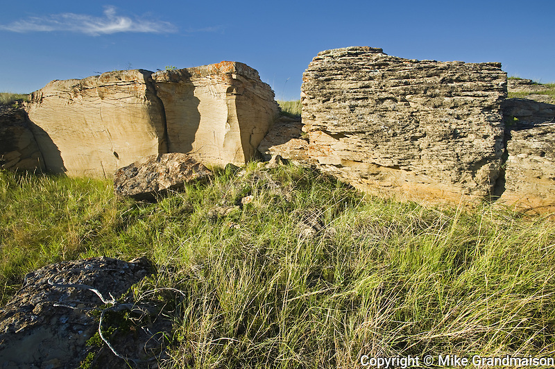 sandstone rock formation on the prairie<br /> Roche Perce near Estevan<br /> Saskatchewan<br /> Canada