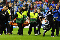 Tuesday, 7 May 2013<br /> <br /> Pictured: Michel Vorm of Swansea City is stretchered off <br /> <br /> Re: Barclays Premier League Wigan Athletic v Swansea City FC  at the DW Stadium, Wigan
