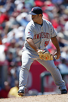 Carmen Cali of the Minnesota Twins during a 2007 MLB season game against the Los Angeles Angels at Angel Stadium in Anaheim, California. (Larry Goren/Four Seam Images)