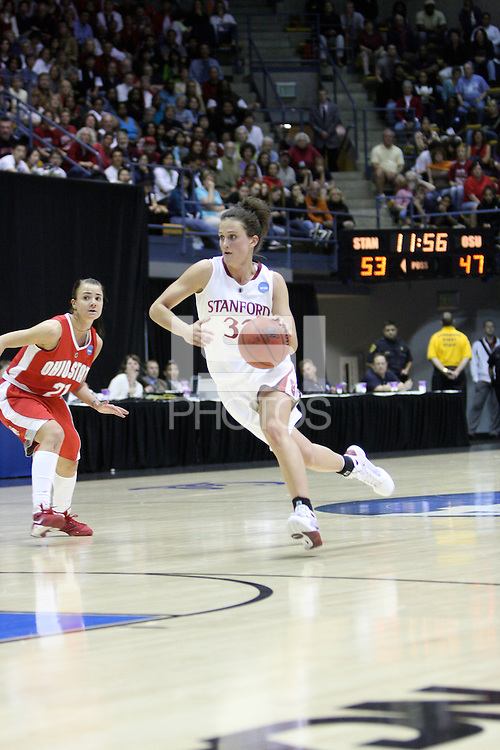 BERKELEY, CA - MARCH 30: Jillian Harmon drives down the lane during Stanford's 84-66 win against the Ohio State Buckeyes on March 28, 2009 at Haas Pavilion in Berkeley, California.