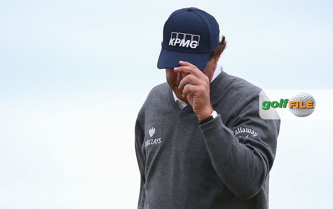 Phil Mickelson (USA) finding the going tough during Round Two of the 2016 Aberdeen Asset Management Scottish Open, played at Castle Stuart Golf Club, Inverness, Scotland. 08/07/2016. Picture: David Lloyd | Golffile.<br /> <br /> All photos usage must carry mandatory copyright credit (&copy; Golffile | David Lloyd)
