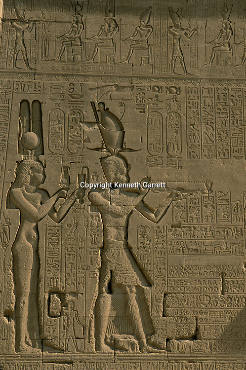 Egypt of the Pharoahs, Relief on temple at Dendera depicts Cleopatra VII making offering with son Caesarion (Ptolemy XV, his father was Julius Caesar), goddess Hathor, Egypt