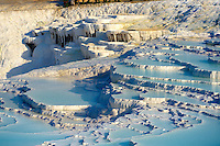 Photo  of Pamukkale Travetine Terrace, Turkey. Images of the white Calcium carbonate rock formations. Buy as stock photos or as photo art prints. 10 Pamukkale travetine terrace water cascades, composed of white Calcium carbonate rock formations, Pamukkale, Anatolia, Turkey