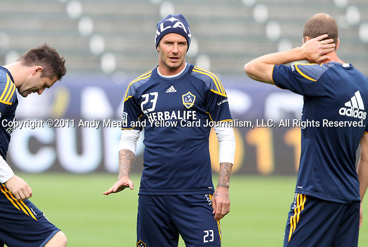 19 November 2011: David Beckham (ENG) (23) with Robbie Keane (IRL) (left) and Gregg Berhalter (right). The Los Angeles Galaxy held a practice session at the Home Depot Center in Carson, CA one day before playing in MLS Cup 2011.