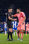 Luis Suarez of FC Barcelona (R) talks to FIFA Referee Del Cerro Grande (L) during the La Liga 2018-19 match between RDC Espanyol and FC Barcelona at Camp Nou on 08 December 2018 in Barcelona, Spain. Photo by Vicens Gimenez / Power Sport Images