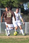 Palos Verdes, CA 02/09/12 - Sam Teles (Peninsula #13) in action during the West vs Peninsula Bay League boys varsity soccer game.