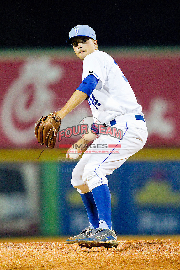 Relief pitcher Nick Graffeo #34 of the Burlington Royals in action against the Bristol White Sox at Burlington Athletic Park on July 9, 2011 in Burlington, North Carolina.  The Royals defeated the White Sox 3-2.   (Brian Westerholt / Four Seam Images)