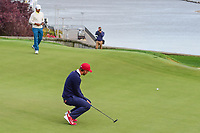 Kevin Chappell (USA) barely misses his putt on 14 during round 3 Four-Ball of the 2017 President's Cup, Liberty National Golf Club, Jersey City, New Jersey, USA. 9/30/2017.<br /> Picture: Golffile | Ken Murray<br /> <br /> All photo usage must carry mandatory copyright credit (&copy; Golffile | Ken Murray)
