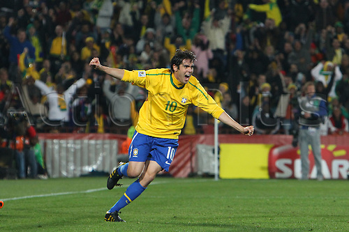 JUNE 28, 2010 - Football : 2010 FIFA World Cup South Africa Round of 16 between Brazil 3-0 Chile at Ellis Park Stadium, Johannesburg, South Africa. Kaka (BRA) celebrates scoring his goal.