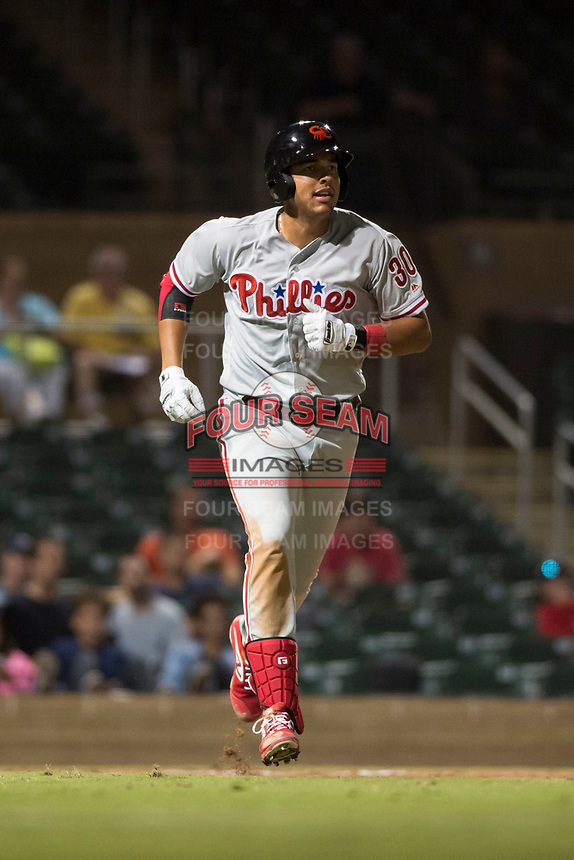 Scottsdale Scorpions first baseman Darick Hall (30), of the Philadelphia Phillies organization, jogs towards first base after hitting a home run during an Arizona Fall League game against the Salt River Rafters at Salt River Fields at Talking Stick on October 11, 2018 in Scottsdale, Arizona. Salt River defeated Scottsdale 7-6. (Zachary Lucy/Four Seam Images)