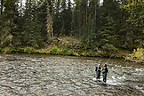 USA, Alaska, Coopers Landing, Kenai River, fishermen fishing on the Kenai river