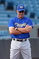 Omaha Storm Chasers coach Doug Henry #19 during batting practice before a game against the Nashville Sounds at Greer Stadium on April 25, 2011 in Nashville, Tennessee.  Omaha defeated Nashville 2-1.  Photo By Mike Janes/Four Seam Images