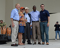 WEST PALM BEACH FL - NOVEMBER 3: Sen. Bill Nelson, Jimmy Buffett, Norman Lear, Democratic Florida gubernatorial nominee Andrew Gillum and Chris King during the Bring It Home campaign rally at Meyer Amphitheater on November 3, 2018 in West Palm Beach, Florida. <br /> CAP/MPI04<br /> &copy;MPI04/Capital Pictures
