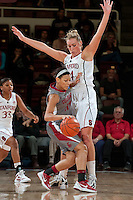 STANFORD, CA-JANUARY 18, 2012 - Joslyn Tinkle stops the drive in the second half against the visiting Washington State Cougars. The Cardinal defeated WSU 75-41.