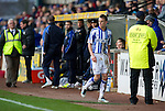 Kilmarnock v St Johnstone....03.03.12   SPL.Dean Shiels looks back after being red carded.Picture by Graeme Hart..Copyright Perthshire Picture Agency.Tel: 01738 623350  Mobile: 07990 594431