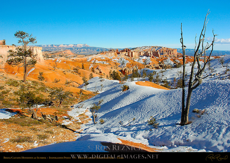 Bryce Canyon Rim in Winter, Sinking Ship Mesa and Bristlecone Point from Sunrise Point, Bryce Canyon National Park, Utah