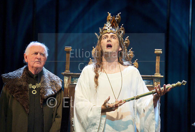 Richard II<br /> by William Shakespeare<br /> The Royal Shakespeare Company Theatre Stratford Upon Avon <br /> Great Britain <br /> press photocall<br /> <br /> 15th October 2013 <br /> <br /> directed by Gregory Doran <br /> <br /> David Tennant as Richard II<br /> <br /> Nigel Lindsay as Bolingbroke<br /> <br /> Oliver Ford Davies as Duke of York <br /> <br /> Michael Pennington as John of Gaunt <br /> <br /> Emma Hamilton as The Queen <br /> <br /> <br /> Photograph by Elliott Franks