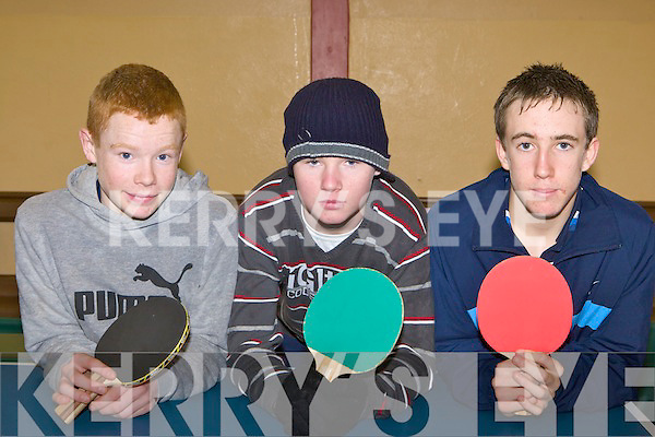 Eoin Murphy, Robert O'Brien and Shane O'Connor Castleisland who competed in the Kerry Table Tennis Community Games final in St Marys Hall Killarney on Sunday