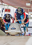 9 January 2016: Russian pilot Alexander Kasjanov leads his 4-man team as they push off their first run of the day at the BMW IBSF World Cup Bobsled Championships at the Olympic Sports Track in Lake Placid, New York, USA. Kasjanov's team won the silver with a 2-run combined time of 1:49.98. Mandatory Credit: Ed Wolfstein Photo *** RAW (NEF) Image File Available ***