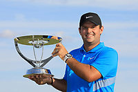 Patrick Reed poses with the trophy after the final round of the Northern Trust played at Liberty National Golf Club, Jersey City, USA. 12/08/2019<br /> Picture: Golffile | Phil INGLIS<br /> <br /> All photo usage must carry mandatory copyright credit (© Golffile | Phil INGLIS)