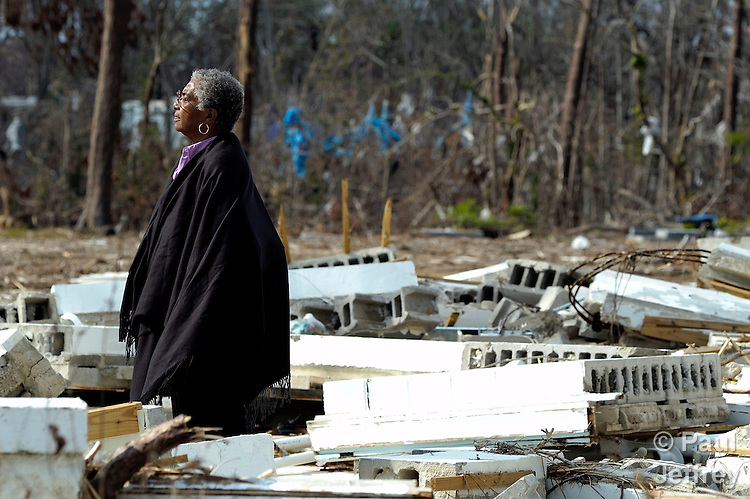 Marian T. Martin surveys the ruins of the Gulfside Assembly in Waveland, Mississippi. The retreat facility was destroyed by Hurricane Katrina in 2005.  Martin is a United Methodist deaconess and the executive director of the Gulfside Assembly, a historic gathering place for African Americans during the civil rights struggle.