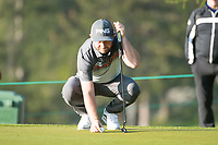 Andy Sullivan (ENG) lines up his putt on the 11th hole during second round at the Omega European Masters, Golf Club Crans-sur-Sierre, Crans-Montana, Valais, Switzerland. 30/08/19.<br /> Picture Stefano DiMaria / Golffile.ie<br /> <br /> All photo usage must carry mandatory copyright credit (© Golffile | Stefano DiMaria)