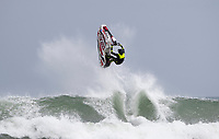 Jetski rider Tom Aiken of Australia shows his skill in the surf during the Yamaha NZ Festival of Freeride jetski event, held at Karioitahi Beach, Waiuku, New Zealand.   09 February 2018. Photo: Brett Phibbs / PhibbsVisuals